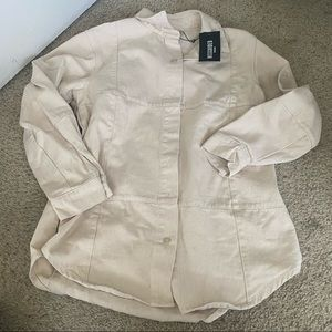 nwt cream smock button up shirt missguided